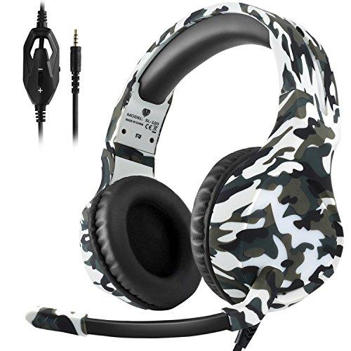 Preisvergleich Produktbild Dxnbikt Gaming Kopfhörer mit Mikrofon PS4,  Xbox One Headset für Mac,  PC 3, 5 mm Rauschunterdrückung Over-Ear Kopfhörer(Weiß Camo)