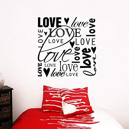 WandaufkleberReizende Liebes-Herz-Wand-Aufkleber-Wörter, Die Valentinsgruß-Jahrestag Pvc-Dekor 54Cm * 56Cm Beschriften