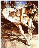 WOWDECOR Malen nach Zahlen Kits Geschenk für Erwachsene Kinder, DIY Ölgemälde Home Haus Dekor - Ballett Tanzen Mädchen 16 x 20 Zoll (X7049, Rahmen)