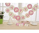 #10: AMFIN® Happy Birthday Banner With Name For Girls Birthday Party/ birthday party decoration, Pink & White
