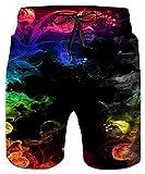 Idgreatim UomoTeens 3D Colorful Smoke Graphic Pantaloncini da...