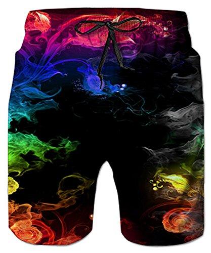 Idgreatim Hommes Shorts de Plage 3D Coloré Fumée Maillots De Bain Graphic Ugly Drôle Plage Shorts Courir Natation Casual Court avec Cordon Réglable L