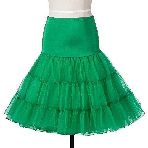 APXPF Damen Vintage 50s Rockabilly Petticoat Röcke Tutu Krinoline Underskirt Mittel Grün
