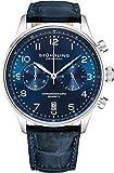 Stuhrling Original - Montre habillée avec chronographe à Quartz pour Homme - Boîtier en Acier Inoxydable et Bracelet en Cuir - Cadran analogique avec Date GR1-Q Collection (Blue/Blue)