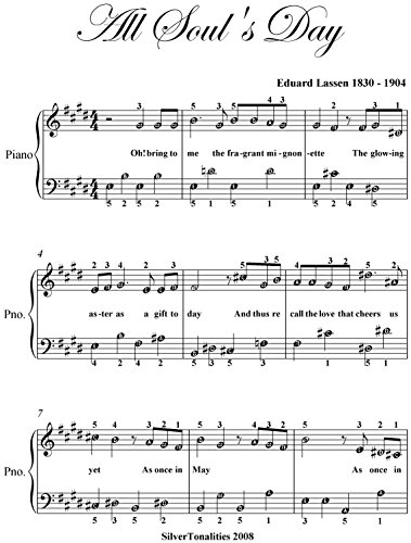 All Soul's Day Easy Piano Sheet Music (English Edition)