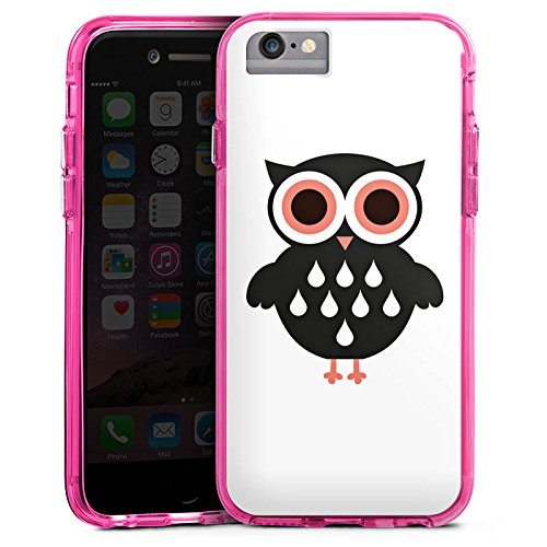Apple iPhone 6s Plus Bumper Hülle Bumper Case Glitzer Hülle Eule Zeichnung Owl Bumper Case transparent pink