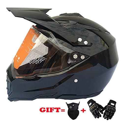 Preisvergleich Produktbild Motocross Motorrad-Helm Dirt Bike ATV Roller D.O.T Zertifiziert mit Transparent Sonne Handschuhe Winddichte Maske, Brightblack, XXL