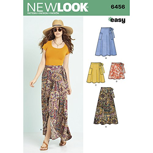 New Look Sewing Pattern 6456A Misses' Easy Wrap Skirts in Four Lengths, Paper, White, 22 x 15 x 1 cm