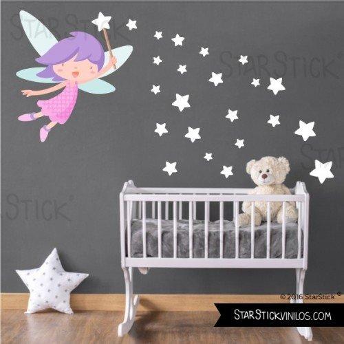 StarStick - wandtatoo für mädchen Fee mit zauberstab und sternen-weißen - Wandtatoo für kinder - T1 - ()