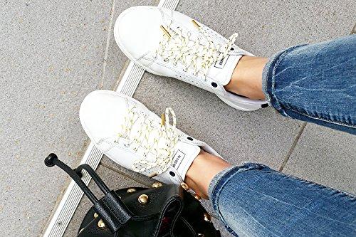 Lacets RONDS ET OR À EMBOUTS MÉTALLIQUES OR (2 modèles et 6 longueurs) - PINROLL lacets pour sneakers et baskets de qualité Blanc et or embouts or