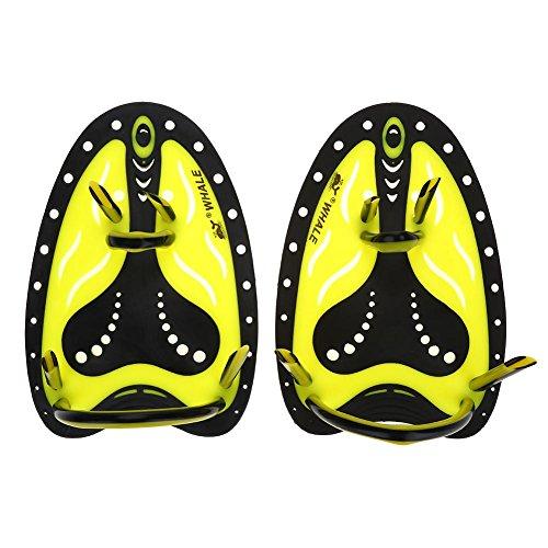 Schwimmen Hand Paddel Einstellbare Tauchen Ausbildung Hand Fin Flippers Handschuhe Ausrüstung(M-Gelb)