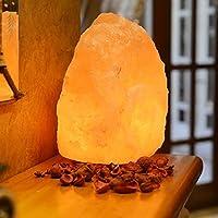 Atmosfera calda creativo unico dell'Himalaya fatta a mano Lampada di sale / lanterna di cristallo naturale su base di legno, luce calda per la casa, Sanatorium, hotel, sale grosso rosa, applicabile ad una varietà di ambienti (Natural)