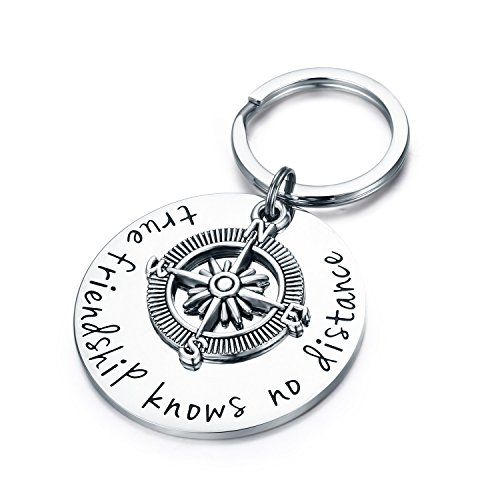 """CJ&M, Schlüsselanhänger mit englischer Aufschrift """"Best Friendship Knows No Distance"""" und Kompass-Motiv, Fernbeziehungs-Geschenk"""