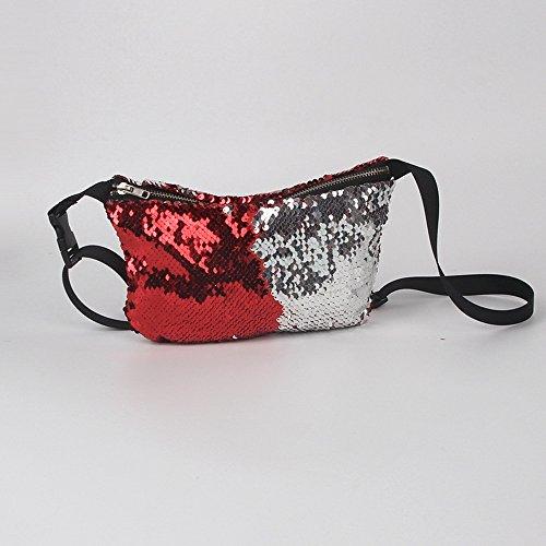 Vertvie Damen Gürteltasche Pailletten Bauchtasche Hüfttasche Umhängetasche Geldbeutel mit Reissverschluss (Champagner) Rot