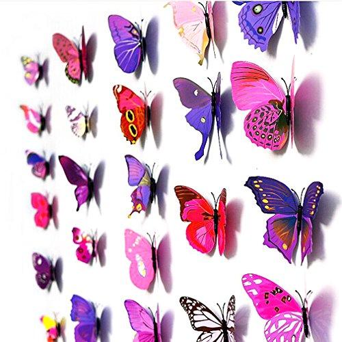 12er Set Bunt 3D Magnet Schmetterling Wandtattoo Wandsticker für Home Dekoration Wand Aufkleber