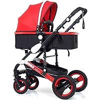Se Puede sentar y mentir Cochecito de bebé Plegable bidireccional del Paisaje (Color : Red