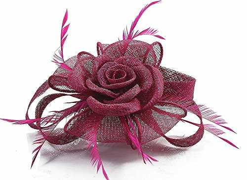 LeahWard mode Herrlich Feather and Mesh Blumendruck Fascinator On Comb Elegante Qualität Racing Garden Party CWH00110 Fuchsia