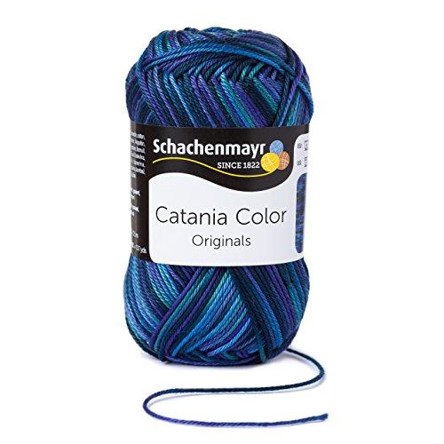Schachenmayr Catania Color 9801780-00207 Pfau Handstrickgarn, Häkelgarn, Baumwolle