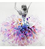 KunstLoft Acryl Gemälde 'Primaballerina' 80x80cm | original handgemalte Leinwand Bilder XXL | Lila & Pinke Ballerina auf Weiß | Wandbild Acrylbild Moderne Kunst einteilig mit Rahmen