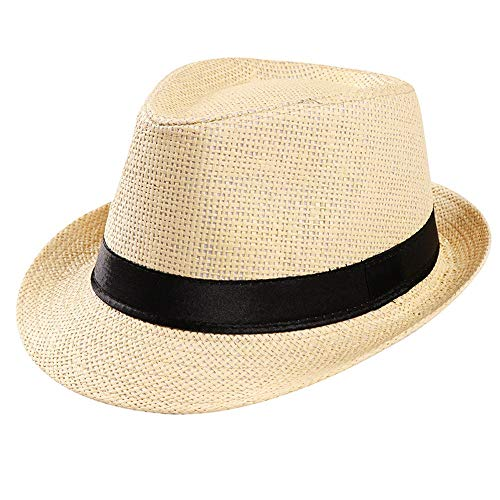 (Auied Strohhut Panama Gangster Hut Sonnenhut mit Stoffband Street Style Unisex)