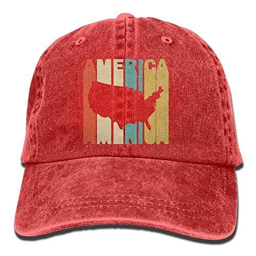 Herren/Damen Retro Style Amerika Silhouette Baumwolle Denim Baseball Cap verstellbare Trucker Cap Einheitsgrösse Adult Design Printing -