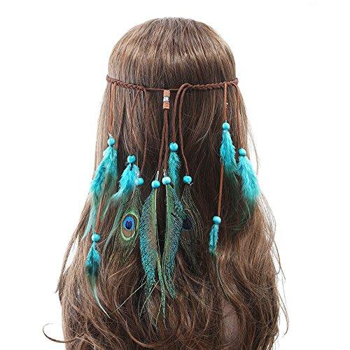 r Stirnband Indisch Kopfschmuck Boho Hippie Perlen Maskerade Schick Kleid Haar Zubehör Zum Frau Mädchen (Indische Haar Accessoires)