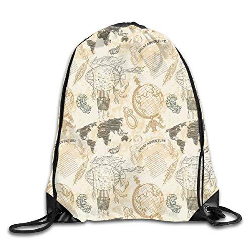 HLKPE Drawstring Backpacks Bags Daypacks,Vintage Globe World Map Airship Rope Knots Ribbon Retro Illustration,5 Liter Capacity Adjustable for Sport Gym Traveling -