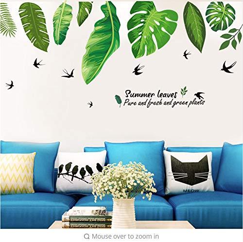 Home Tropischer Dschungel Grüne Blätter Wandaufkleber Dekoration Wohnzimmer Video Wand Restaurant Meer Pflanze Schwalbe Aufkleber