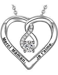 LOVORDS Collier Femme Gravé en Argent 925/1000 Pendentif Cœur et Infini Cadeau Amoureux pour Elle Mère Maman Mamie Fille