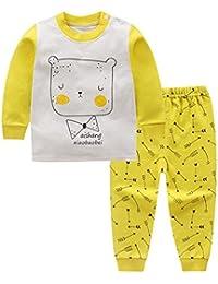 Deylaying 2 piezas Niños Niñito Chicos Chicas Impresión Conjunto de pijamas Ropa de noche Children PJs Algodón Manga larga Prendas de dormir Bebé Ropa de dormir