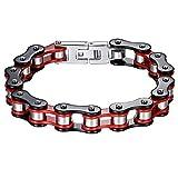 Aoiy Herren-Armband, Schwarze und Rote Fahrradkette, Edelstahl, Schwer, 21,8cm, ccb019