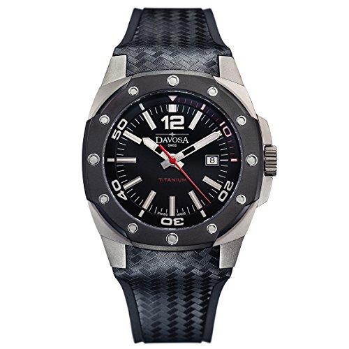 Davosa Swiss Titan 16156155Analog Herren Armbanduhr, Schwarz