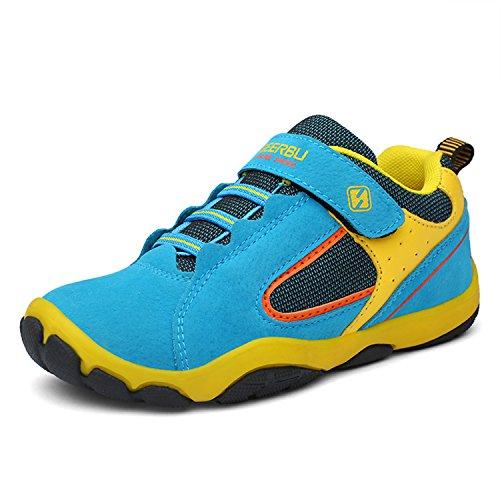 SAGUARO Jungen Trekking Wanderschuhe Kinder mit Klettverschluss Leicht Sport Schuhe Outdoor Laufschuhe Mädchen Turnschuhe Sneaker 38 EU=Label 39 Neue-blau (Baby-jungen-sneakers Klettverschluss Mit)