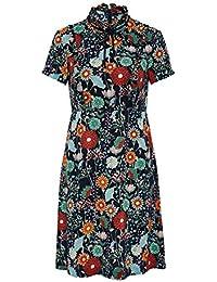 HALLHUBER Stehkragen-Kleid mit Rüschen und Schleife tailliert geschnitten