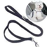 OCHO8 Hunde Sicherheitsgurt Fürs Auto, Auto Hundegurt Sicherheitsgeschirr, Hundehalsband Verbindungsgurt mit Besonders Elastischer Ruckdämpfung für maximalen Komfort und Höchste Sicherheit (Schwarz)