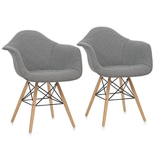 OneConcept Visconti • Schalenstuhl • Retrostuhl • Esszimmerstuhl • 70er-Jahre-Look • Retro-Design • 2er Stuhl-Set • breite, Bequeme Sitzfläche • gepolsterte PP-Schale • Sitzhöhe von 43 cm • schwarz Schwarz Schale