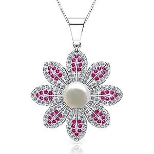 ONECK Ohrringe Damen Kette Schmuck 925 Sterling Silber kleine Perlen Kristall 5A Zirkonia Halskette mit Sonnenblume Anhänger Kettenlänge 45CM Box