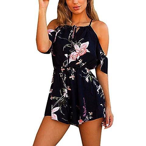 Reaso Femmes Col Rond Combinaison Imprimer la feuille Jumpsuit Sans Bretelles Combishort, Bleu, Asie S
