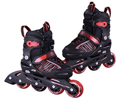 L.A. Sports Inliner Skate Soft Kinder Jugend Damen Größenverstellung 5 Größen verstellbar (29-33, Rot)