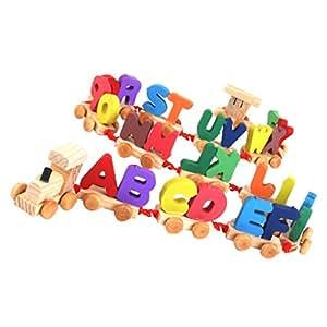jouet petit train de lettres en bois multicolore jeux et jouets. Black Bedroom Furniture Sets. Home Design Ideas