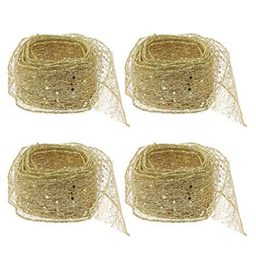 NUOBESTY 4 Piezas 2 m con Cable Cinta de Navidad Cinta de Gasa de Organza Cinta Artesanal Pura para Envolver Regalos Decoraciones de Tul Accesorios para el Cabello con Adornos (Dorados)