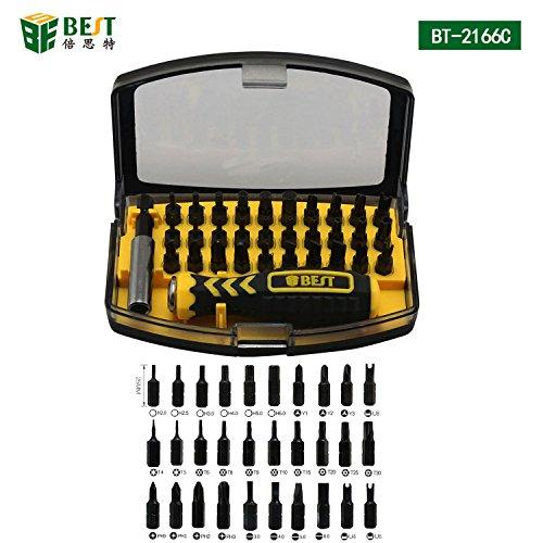 BEST TOOL - BST-2166C - Tragbares Universal Schraubendreher/Werkzeug-Set magnetisch - aus Aluminium PLUS Aufbewahrungsbox - 32 Teile