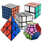 EASEHOME Zauberwürfel 5 Pack Megaminx + Pyraminx + Spiegel + 2x2x2 + 4x4x4 mit Geschenkbox, Speed Magic Puzzle Cube Zauber Würfel PVC Aufkleber für Kinder und Erwachsene