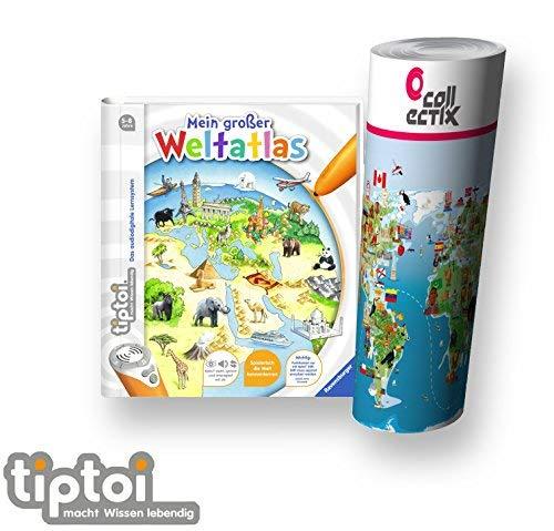 Collectix Ravensburger tiptoi  Buch, Atlas | Mein großer Weltatlas + Kinder Wimmel Weltkarte - Länder, Tiere, Kontinente (Weltkarte Sprachen)