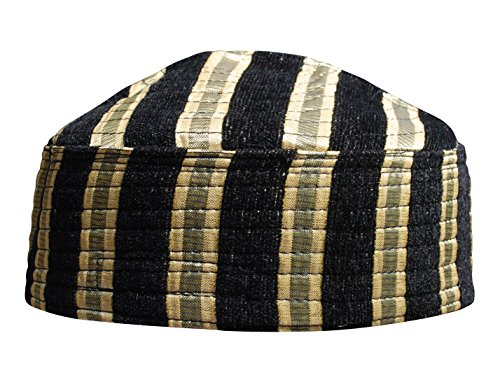 e753bd53484 TheKufi Exclusive Black and Gold Striped Velveteen Mix Semi-Rigid Kufi Hat  Crown Cap (