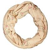 ManuMar Loop-Schal für Damen | Hals-Tuch mit Katzen-Motiv als perfektes Sommer-Accessoire | Schlauch-Schal in Beige - Das ideale Geschenk für Frauen