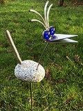 Edelstahl Vogel/Garten Skulptur 70cm Granitvogel V2A