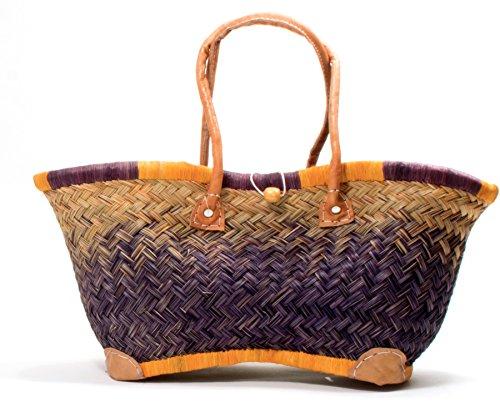 Madagaskar Korbtasche Strandtasche XXL Ibiza Basttasche Damen Lederhenkel Orange- Purple (Small) (Raphia Madagaskar)