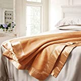 ElleSilk Luxuriöse Decke aus 100% Natur Maulbeerseide, Seiden-Bettdecke, Warm und Anschmiegsam, Kamel, Single Size (160 x 210cm)