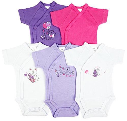 5er-Pack Baby Bodys Wickelbodys 1/4 Arm Kurzarm Set Teddys Gr. 50/56 (1M)